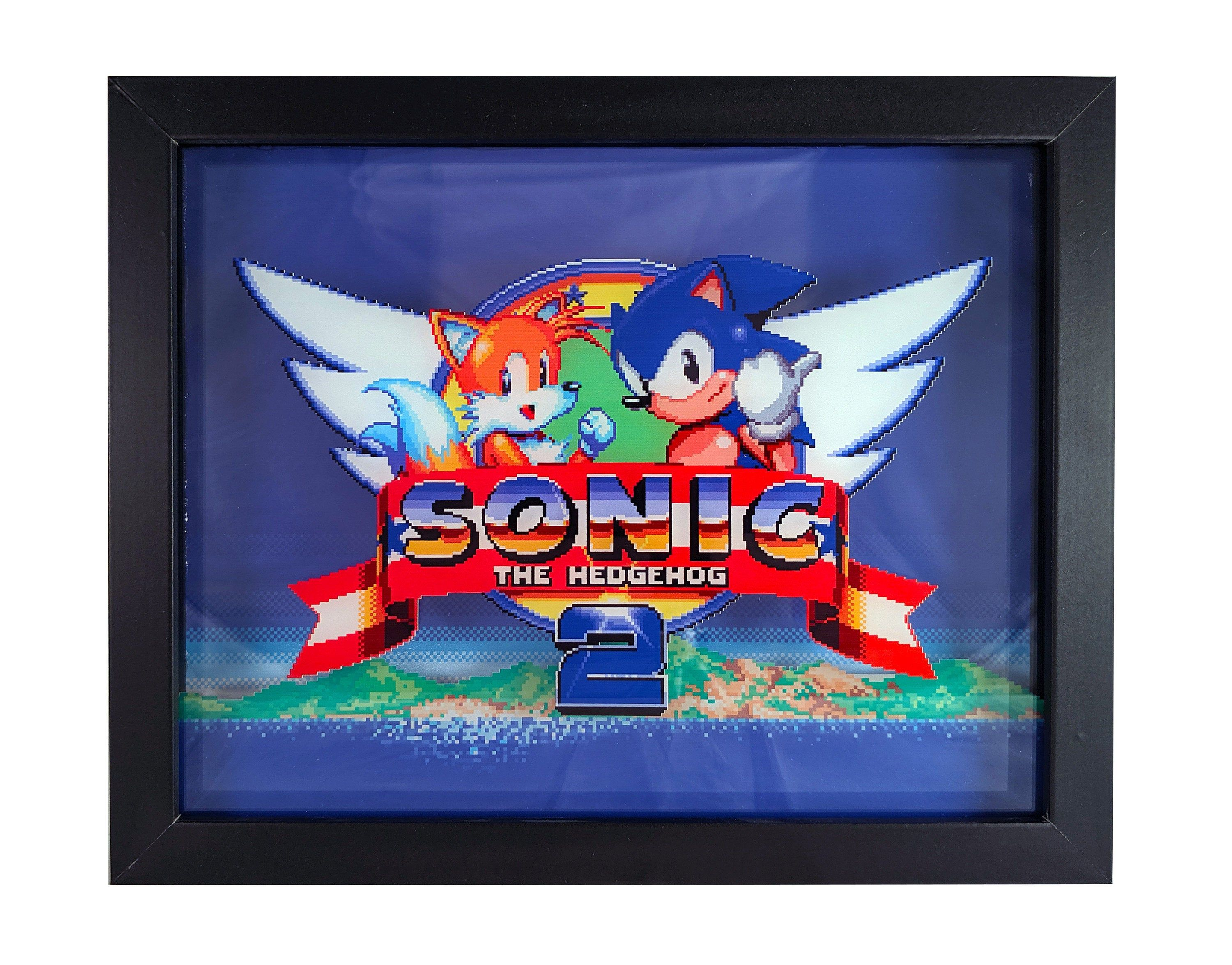 Sonic The Hedgehog 2 Shadowbox Wall Art Title Screen Shadow Box Art Sonic The Hedgehog Character Symbols