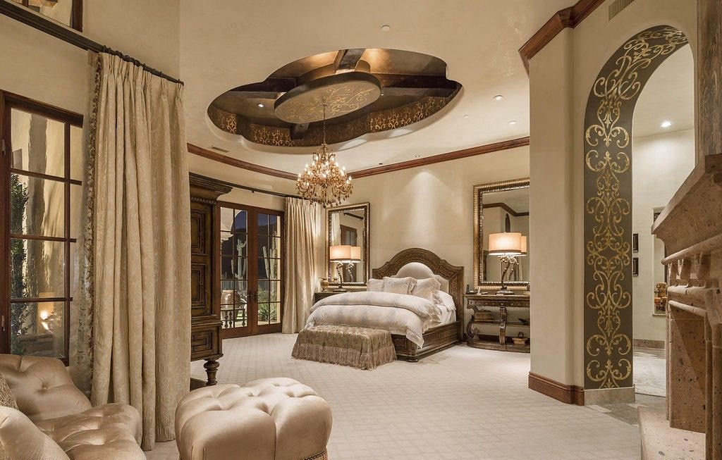 Mediterranean Style Master Bedroom With Dome Ceiling And Intricate