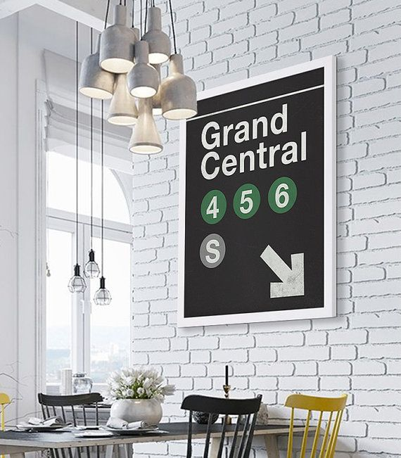 art living room subway art print nyc print grand central station large poster