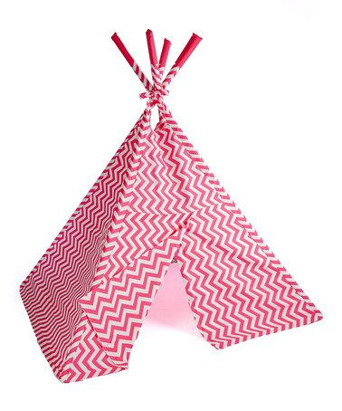 Hot Pink Zigzag Teepee by TeePee for Me #zulily #zulilyfinds this one is polyester... 5' W x 5.5' H x 5' D Poles: 6.5'' H Cotton / PVC No assembly required Recommended for ages 3 years and up