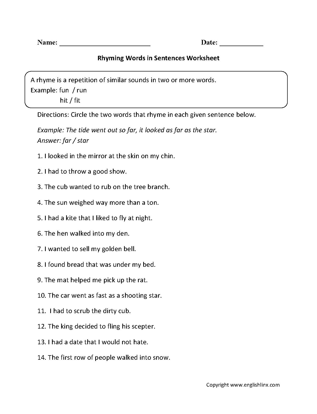 Rhyming Words In Sentences Worksheet