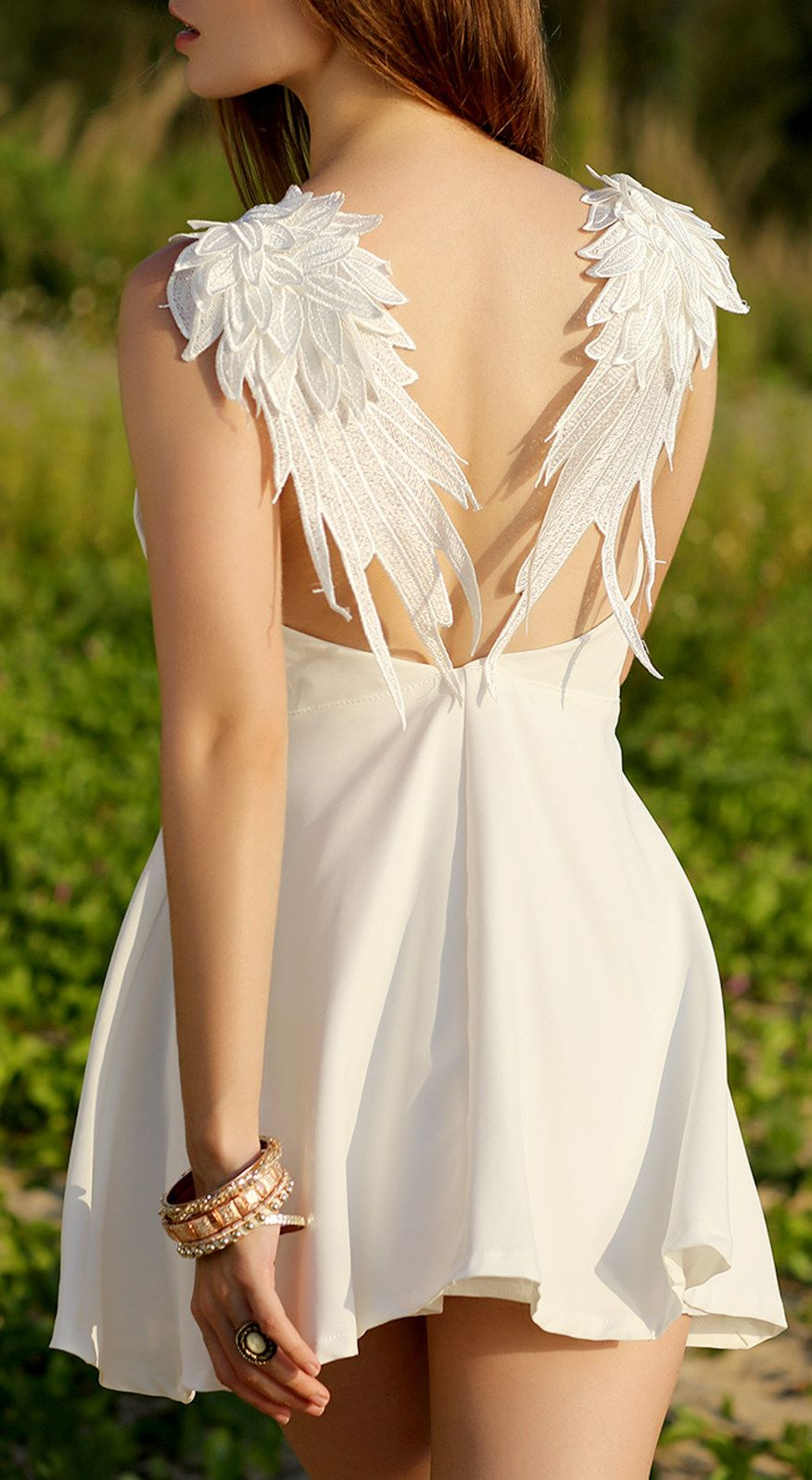 Wing embroidery sleeveless flare dress embroidery clothes and