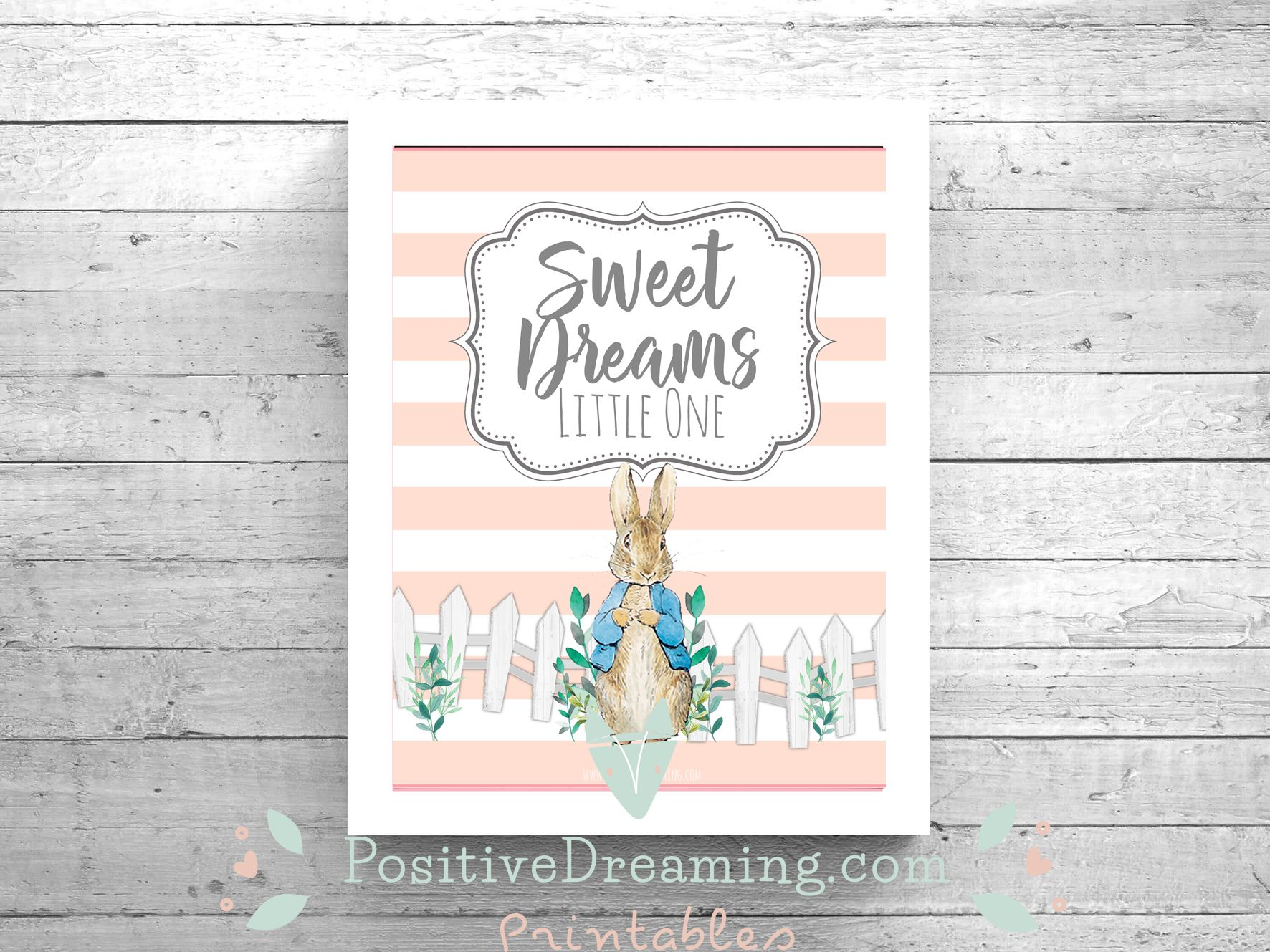Peter Rabbit Wall Decor Baby Girl Quote