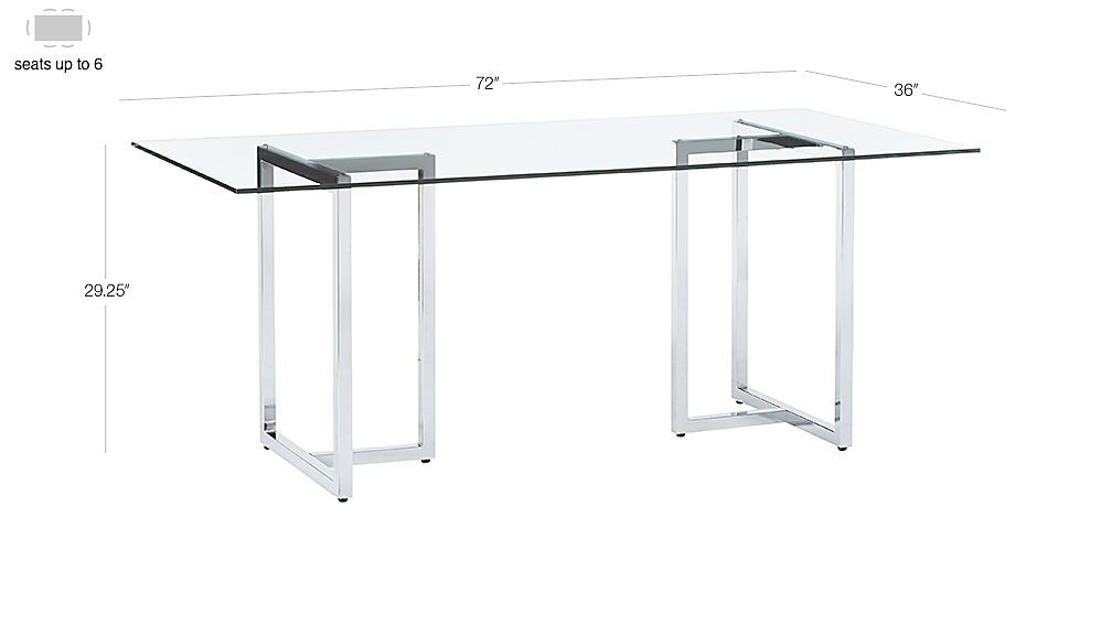 Silverado Chrome 72 Rectangular Dining Table Chrome Dining
