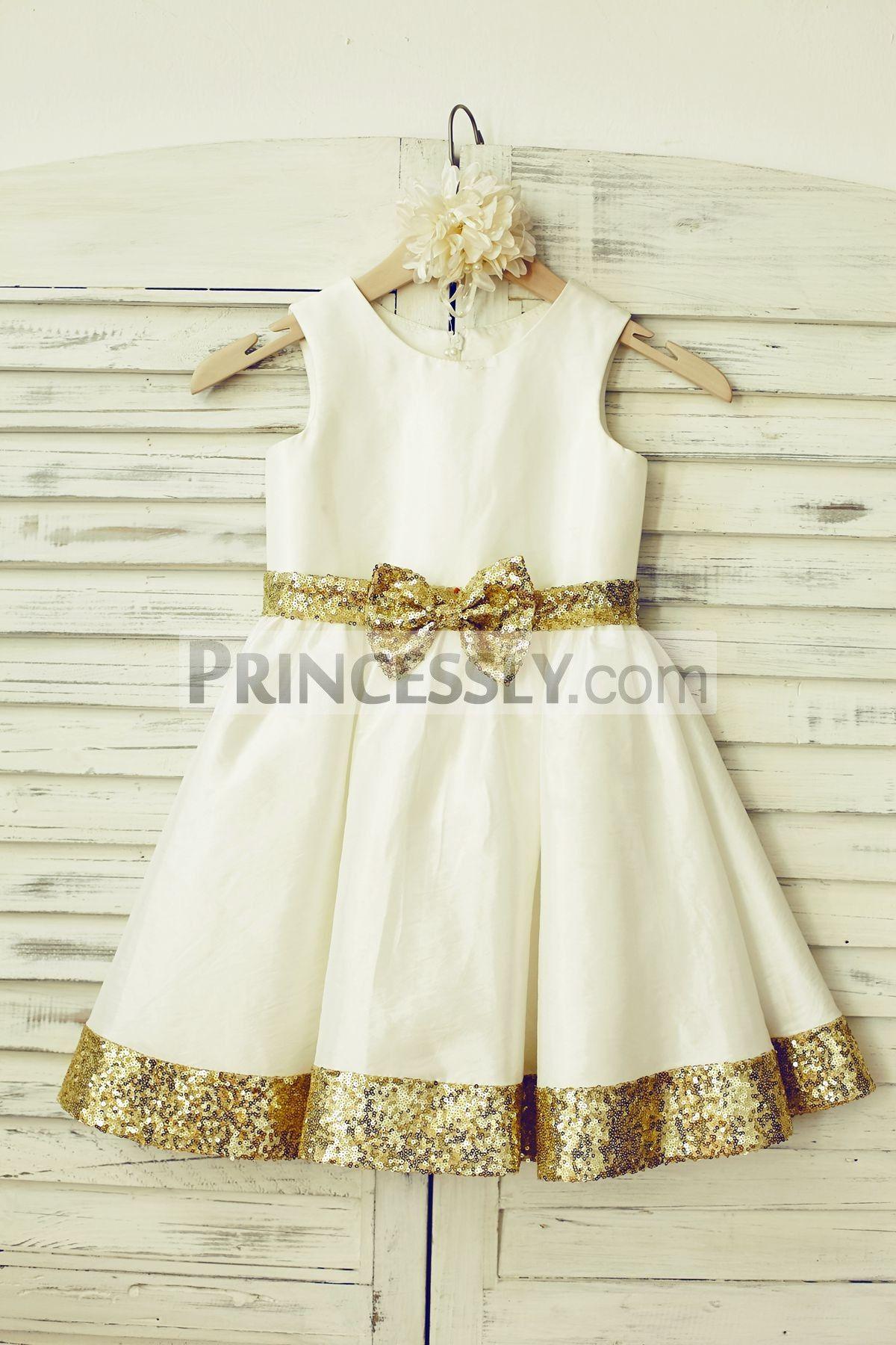 Cheap flower girl dresses gold