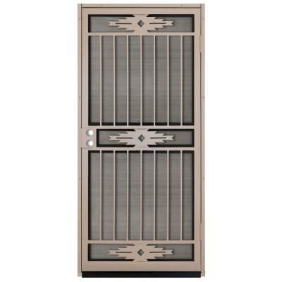 Unique Home Designs 36 In. X 80 In. Pima Tan Surface Mount Outswing Steel  Security Door With Insect Screen IDR11500362005   The Home Depot