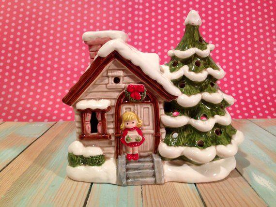 Rare Lund\u0027s Lites Christmas home and Pine tree Tea Light Music Box