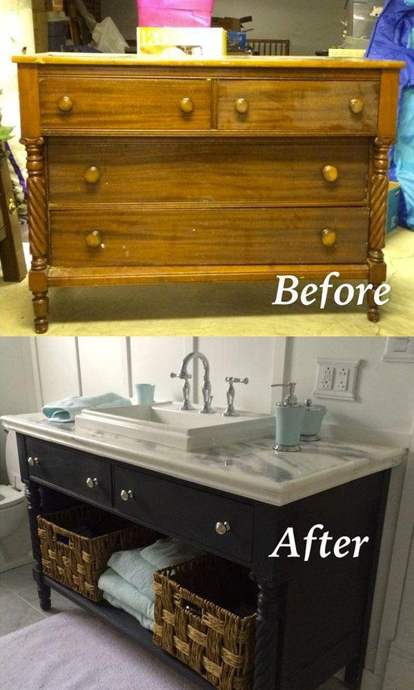 verwandle eine alte kommode in eine badezimmerwaschtisch indem du sie neu machst und die. Black Bedroom Furniture Sets. Home Design Ideas
