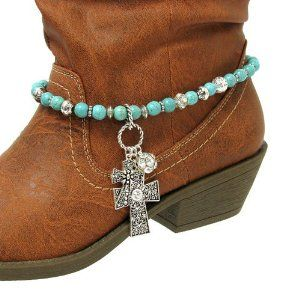 """Fashion Jewelry ~ Turquoise and Silver Beads Accented with Cross Charm Pendant Boot Charm Anklet (Style Boot Charms 058 24) Variety Gift Shop Fashion Jewelry. $14.95. ** BOOT NOT INCLUDED **. Size: 15"""" total length, 6mm chain width, various 8mm - 11mm beads     Color: Silver, Turquoise     Style: Chain beaded boot charm, western theme accents, cross charms, lobster claw closure ** BOOT NOT INCLUDED **. 1 Piece"""