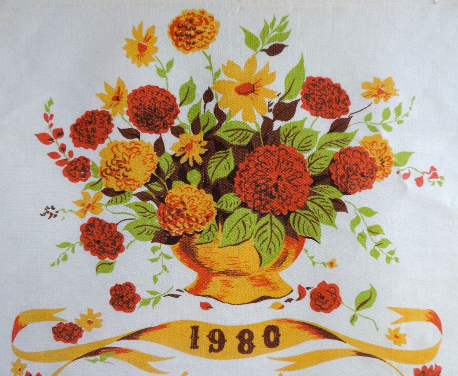 Vintage linen 1980 bd calendar tea towel flower bouquet retro vintage linen 1980 bd calendar tea towel flower bouquet retro wall hanging kitchen izmirmasajfo