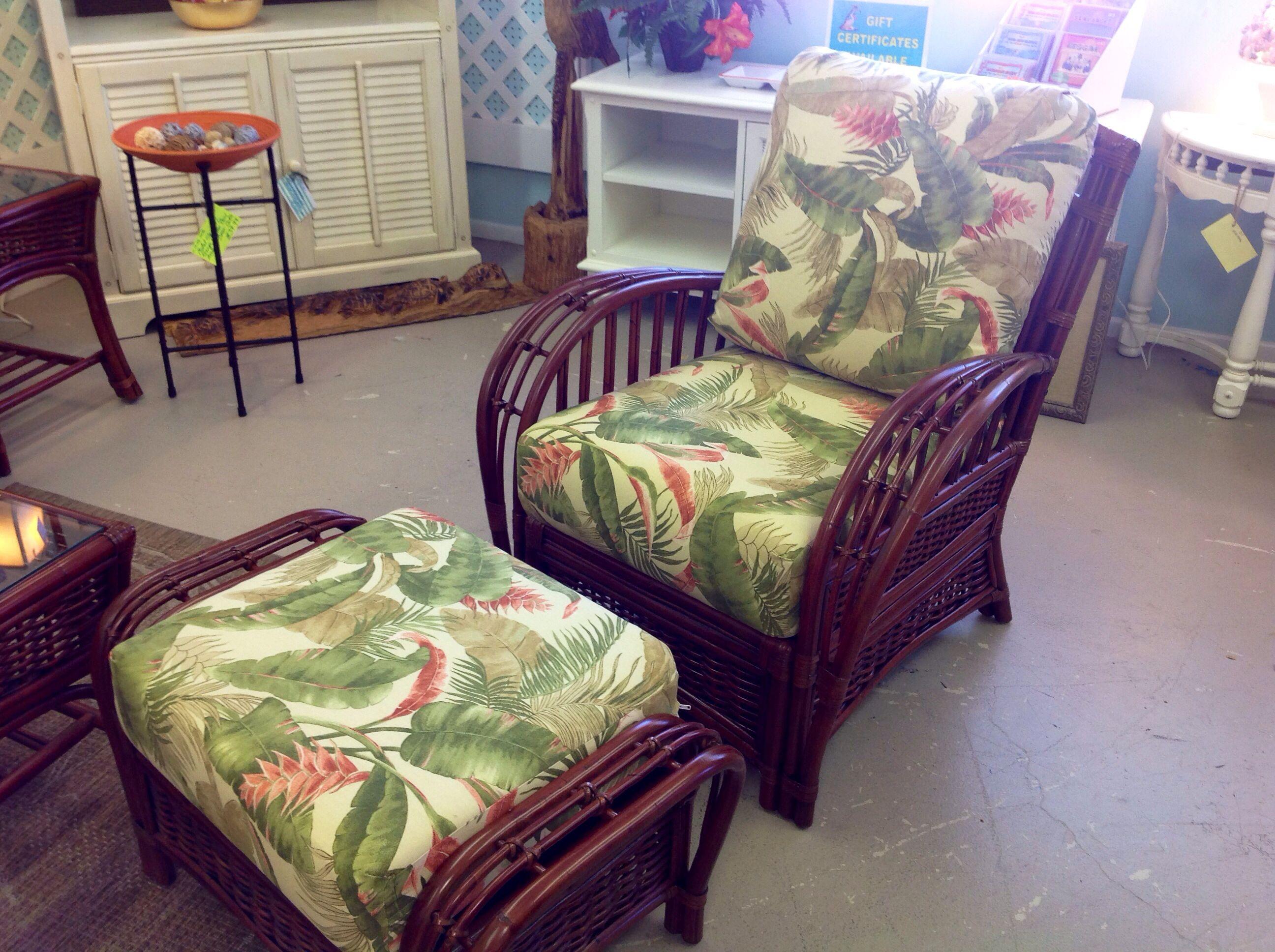 tropical print wicker living room furniture | Bamboo ...