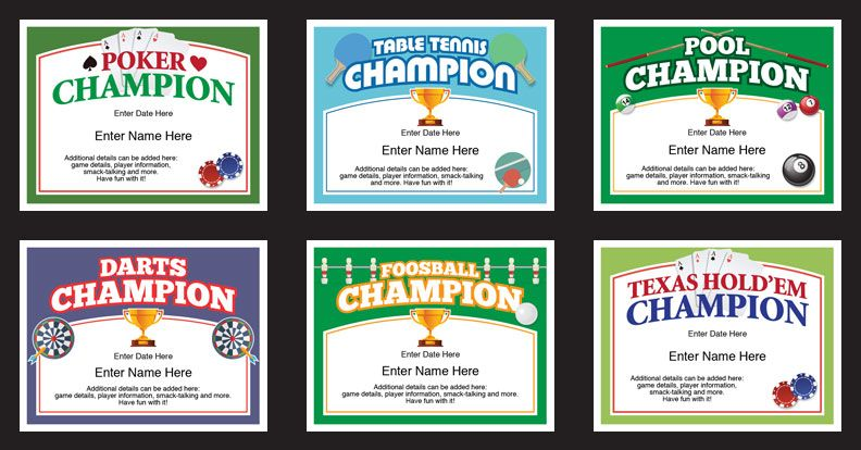 Basement games certificates templates poker certificate and darts basement games certificates templates recognize the winner in pool darts table tennis yadclub Gallery