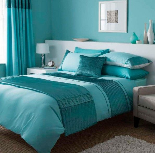 Turquoise Luxury Bedding Sets With Matching Curtains And Wall Paint