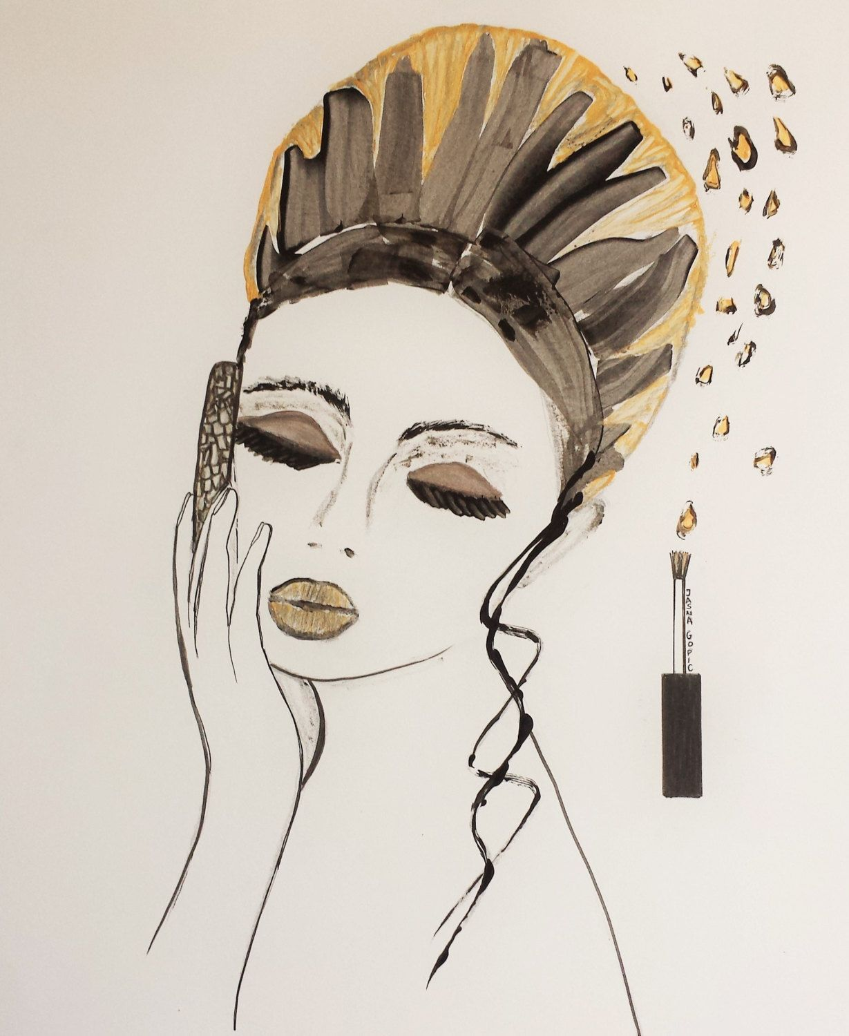 Fashion Illustration,Print from original pen & nail polish painting by Jasna Gopic,Lady portrait,Nail polish art,Women portrait,fashion by JasnaHappyArt on Etsy