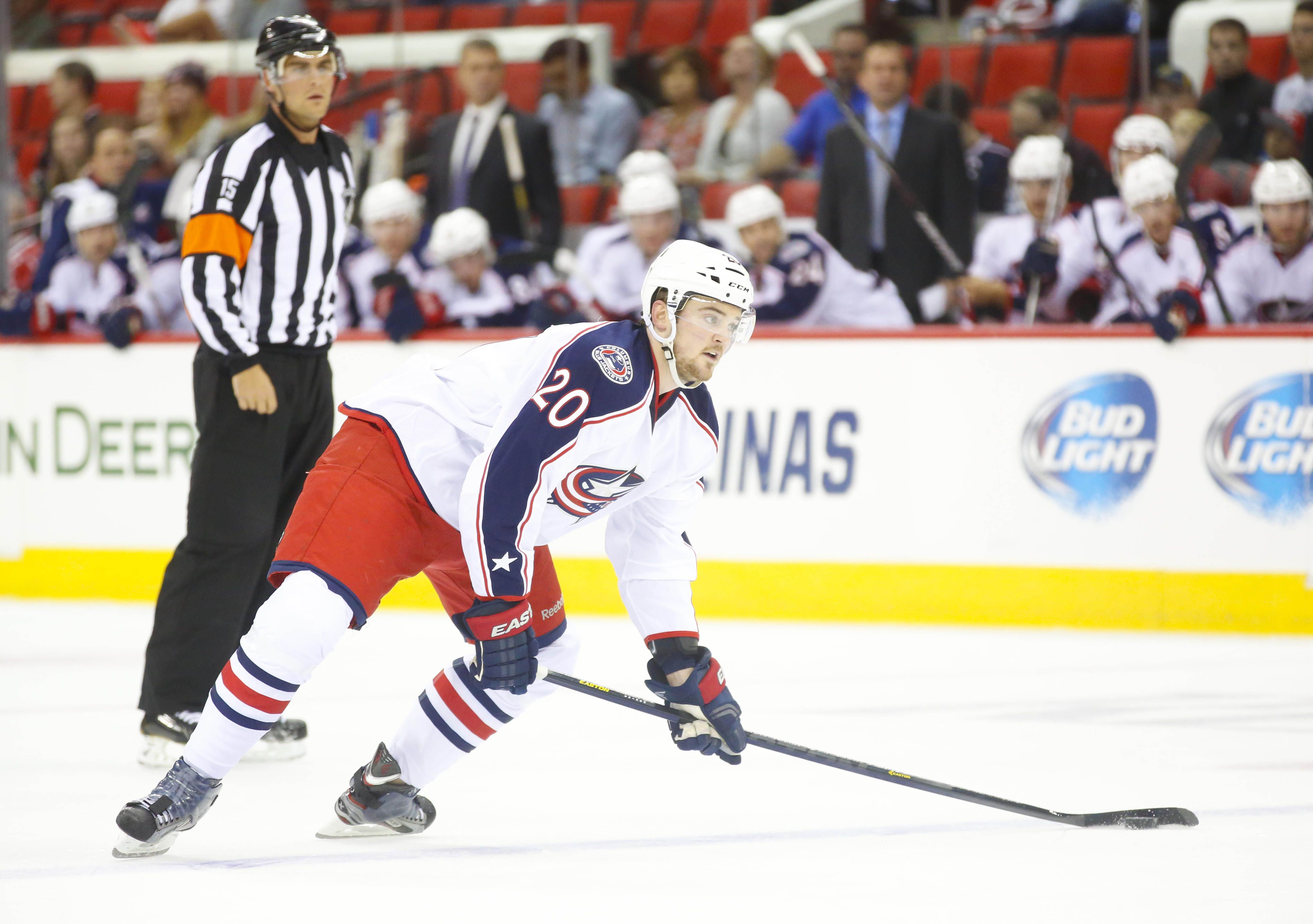 CrowdCam Hot Shot: Columbus Blue Jackets defensemen Tim Erixon looks to take a shot against the Carolina Hurricanes at PNC Center. The Blue Jackets defeated the Hurricanes 5-4. Photo by James Guillory