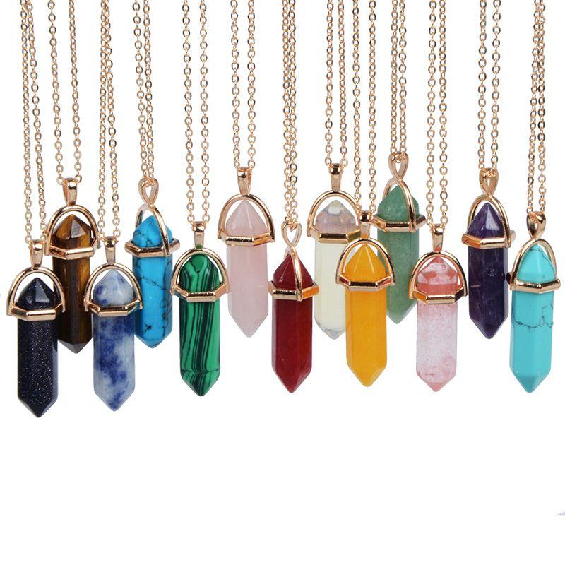 Hermoso Colgante De Piedras Preciosas De Cristal Para Damas Hecho A Mano De Titanio Joyería Collar