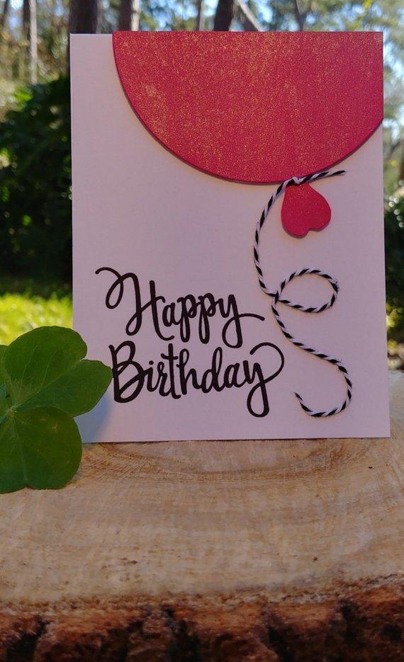Handmade Birthday Card Balloon, Hot Pink Balloon B