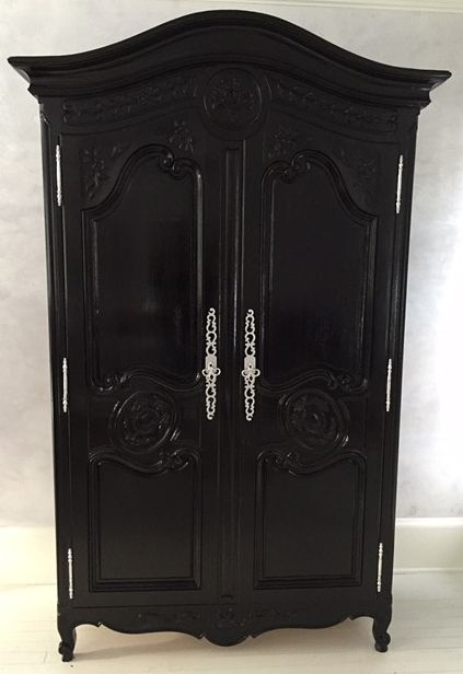Armoire Painted With AHAH Black Lacquer And Hardware Painted With Silver  Fox Lacquer