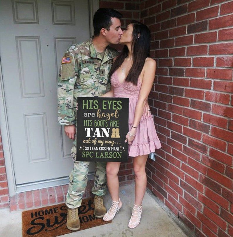 Welcome Home Wife Spouse Husband Sign Camo Marine