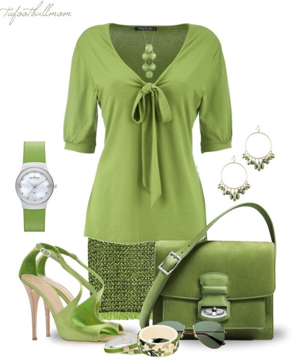"""Monochrome Green"" by tufootballmom on Polyvore"
