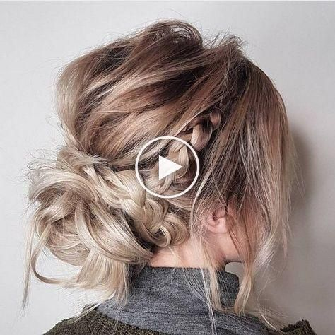 messy updo hairstylescrown braid hairstyle to try boho