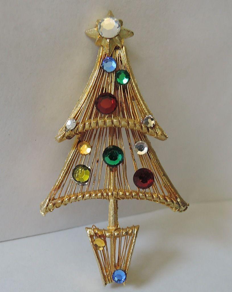 Vendome Wired Swarovski Crystal Christmas Tree Pin Rare Book Piece Jewelry Christmas Tree Christmas Bling Crystal Christmas Tree