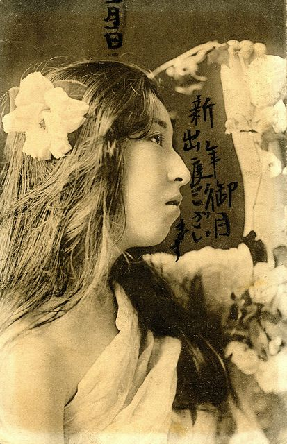 Geisha draped with Flowers 1905 by Blue Ruin1, via Flickr