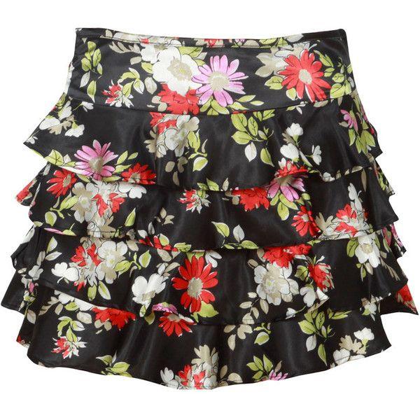 Floral Print Black Satin Ra-Ra Skirt ($8.53) ❤ liked on Polyvore featuring skirts, satin skirt, zipper skirt, floral skirt, floral printed skirt and floral print skirt