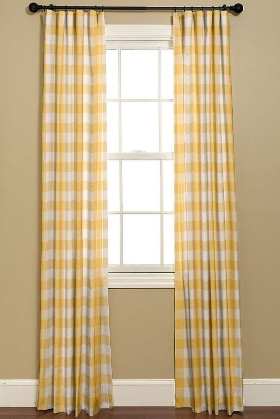 Yellow And White Buffalo Check Curtains 2 By Bellashomedecor Buffalo Check Curtains Home Decor Check Curtains