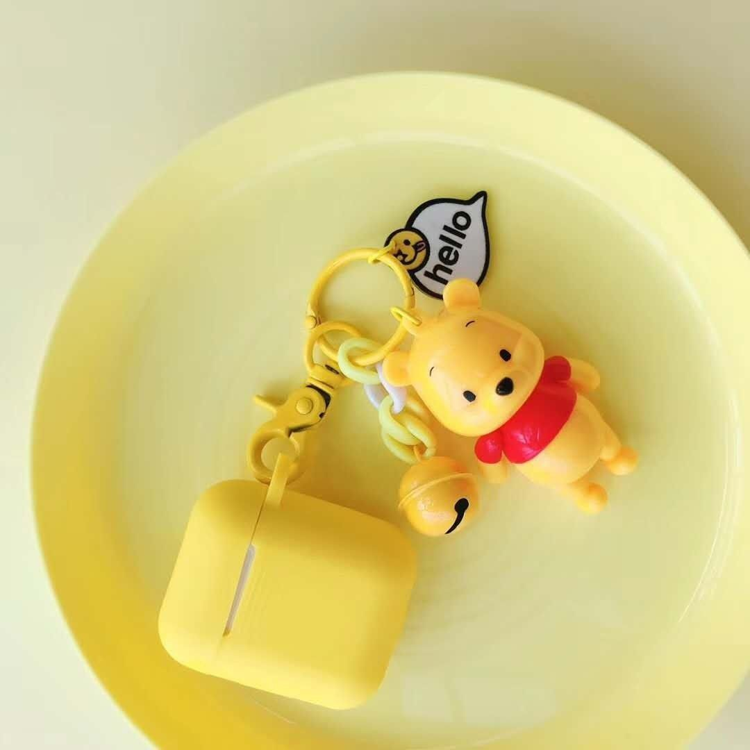 Cute Winnie The Pooh And Tiger Airpod Case With Keyring Stitch