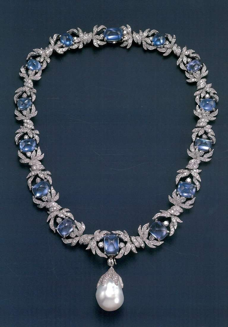 VERDURA~ Sapphire and Diamond necklace with large natural baroque Pearl drop pendant.
