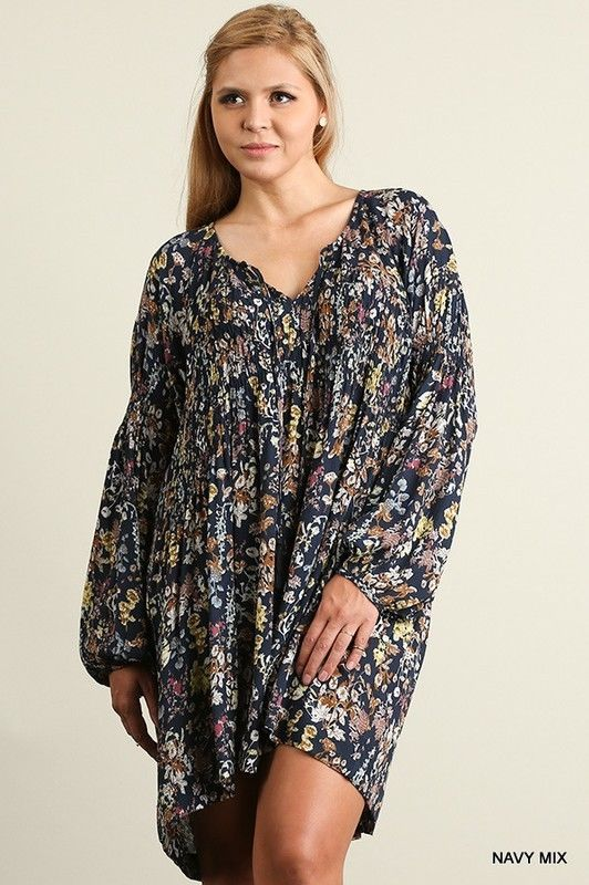 65d8b878caee Umgee BOHO navy Floral bishop Sleeve Trapeze Swing Dress Tunic Top plus XL  1X 2X #umgee #Tunic #casual