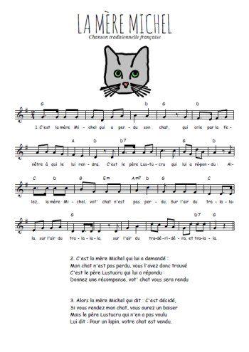 Téléchargez la partition gratuite de la chanson La mère Michel , comptine  traditionnelle française avec accords
