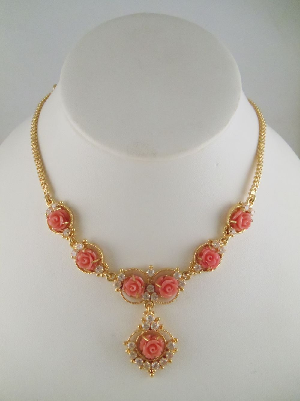 Coral Roses Gold Jewelry Fashion Jewelry Design Earrings Beautiful Gold Necklaces