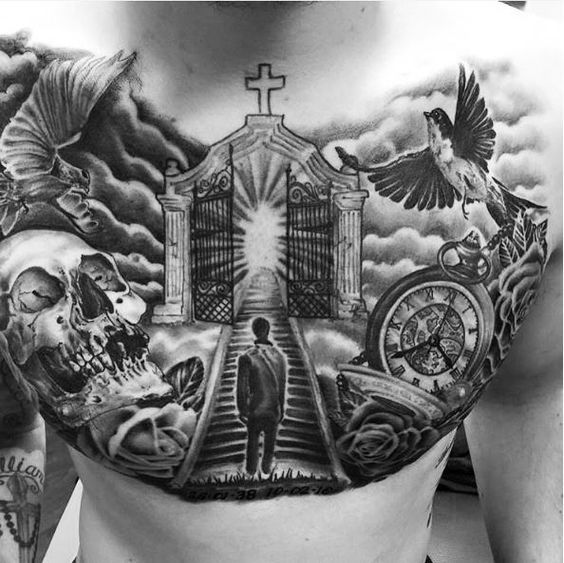 50 Aneglic Heaven Tattoos Ideas And Designs Diytattooimages In 2020 Heaven Tattoos Chest Piece Tattoos Gates Of Heaven Tattoo