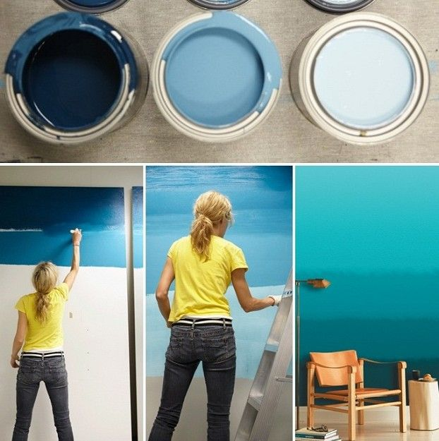 streichen Anleitung Technik Ideen schöne blaue Nuancen verblenden