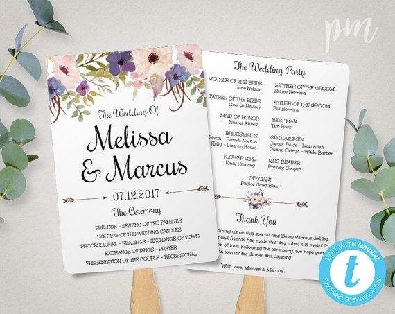 Lavender Wedding Program Fan Template Watercolor Flowers Wedding - Floral wedding program templates