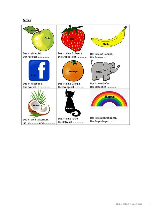 Farben | Deutsch für Kinder (Arbeitsblätter) | Pinterest | Worksheets