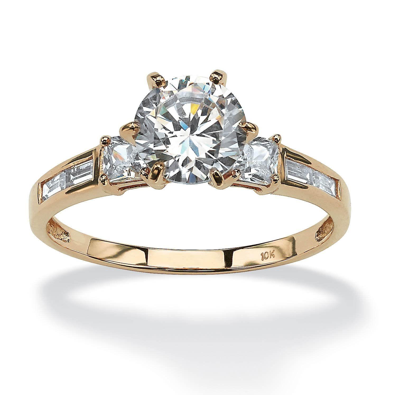 10K Yellow Gold Cubic Zirconia Engagement Ring White