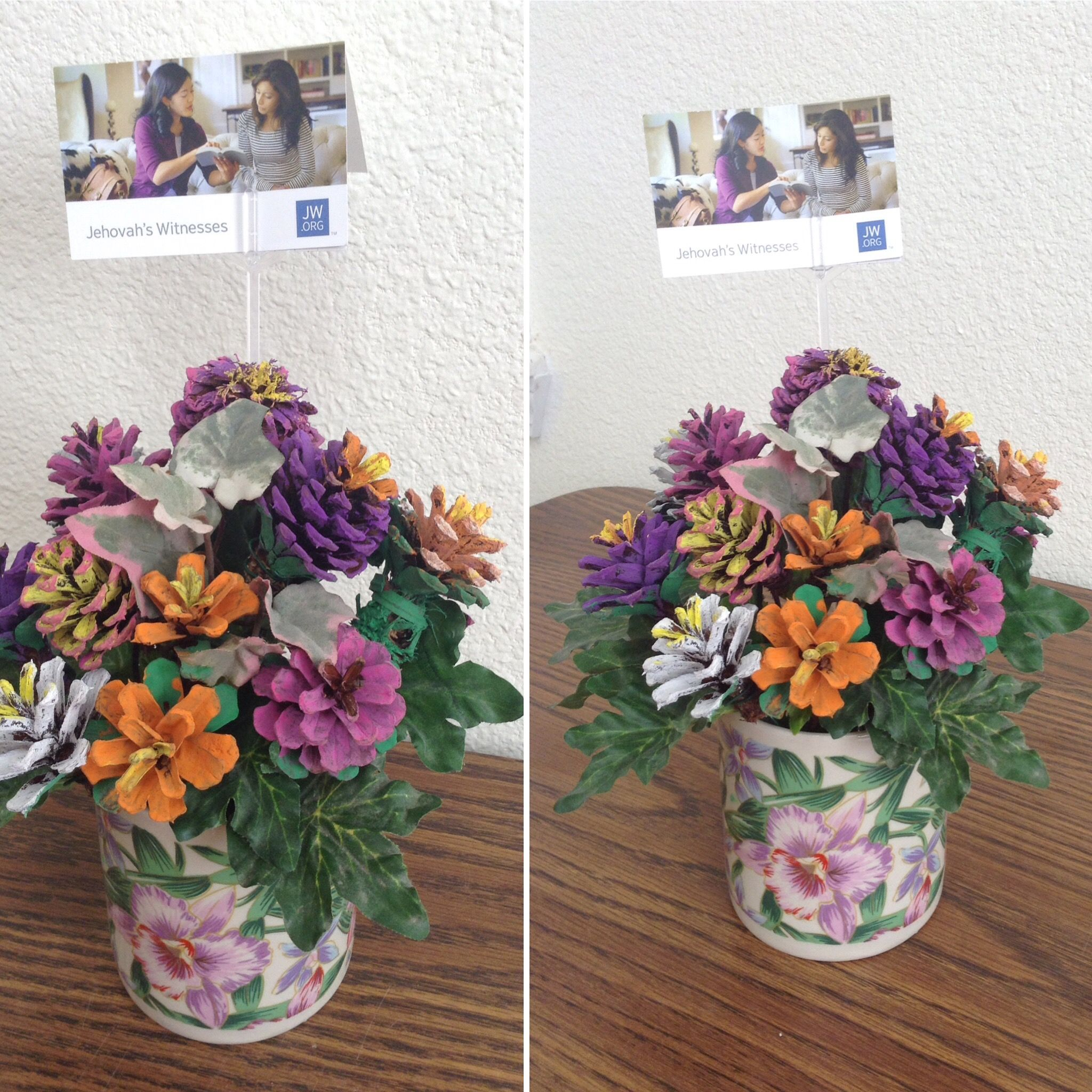 Painted Pine Cone Flower Arrangement Brought To Nursing Home Bible Study Painted Created By Shar Pine Cone Decorations Nursing Home Crafts Pine Cone Crafts