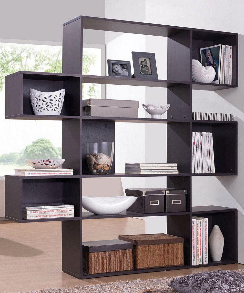 Loving this dark brown lanahan fivelevel modern display shelf on