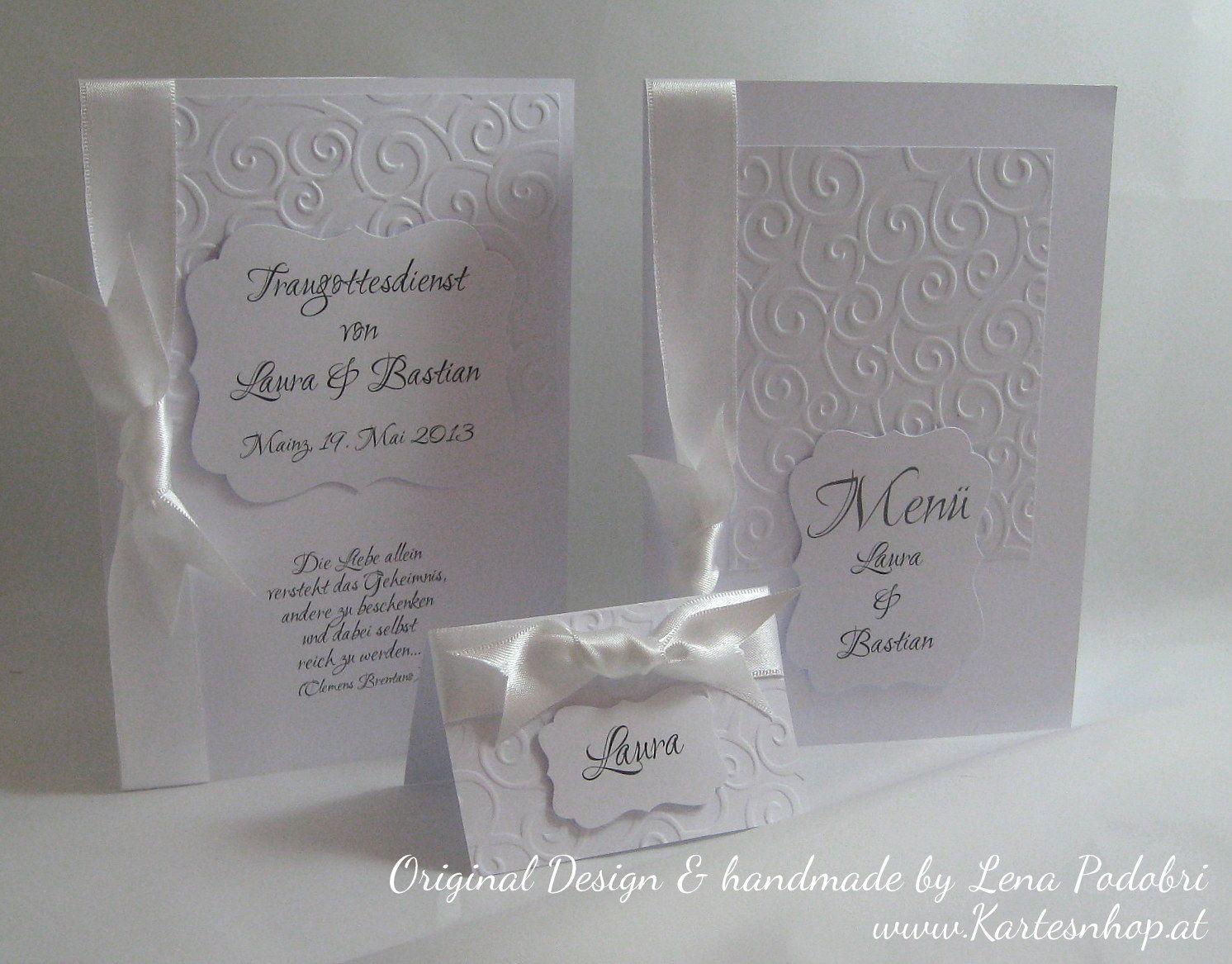 Lenas Kartengalerie: Hochzeit edel in Weiß *LAURA & BASTIAN* - Kirchenheft, Menükarte, Tischkarte