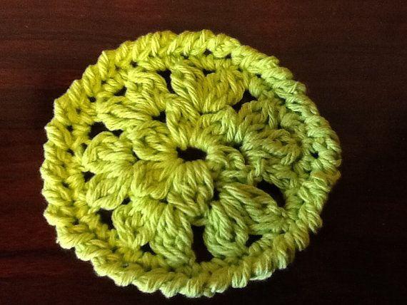 Handmade crochet apple green coasters set by KirtonKornersCrochet, $8.50