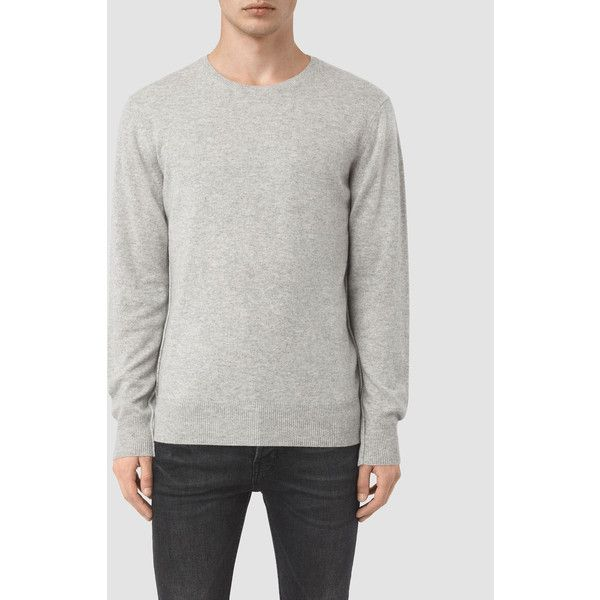 AllSaints Mont Cashmere Crew Jumper ($235) ❤ liked on Polyvore featuring men's fashion, men's clothing, men's sweaters, light grey marl, mens crew neck sweaters, mens cashmere sweaters and mens crewneck sweaters