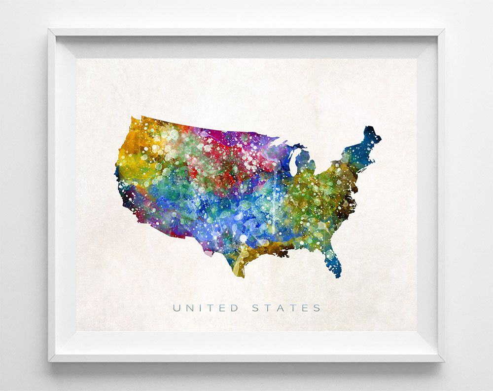 United States Watercolor Map Print Watercolor Map Watercolor - Watercolor us map