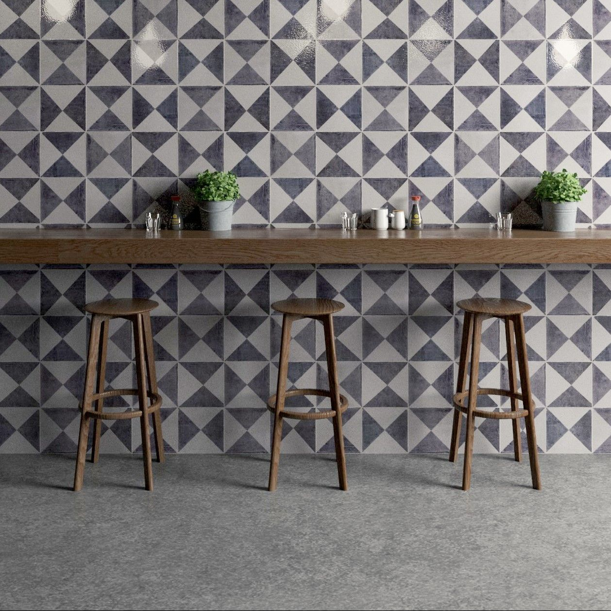 Hallway furniture b&m  Gorgeous grey geometric tiles by Bert u May as seen on Beautiful