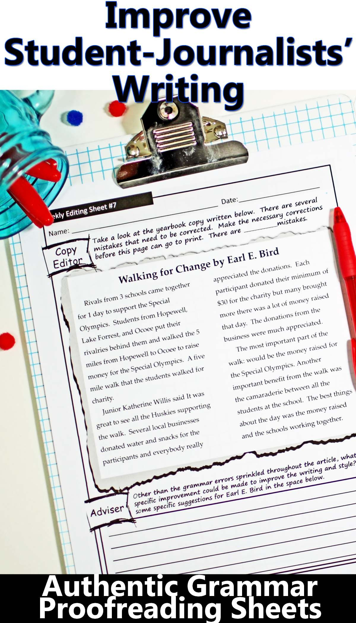 Yearbook Grammar Proofreading Worksheets Editable
