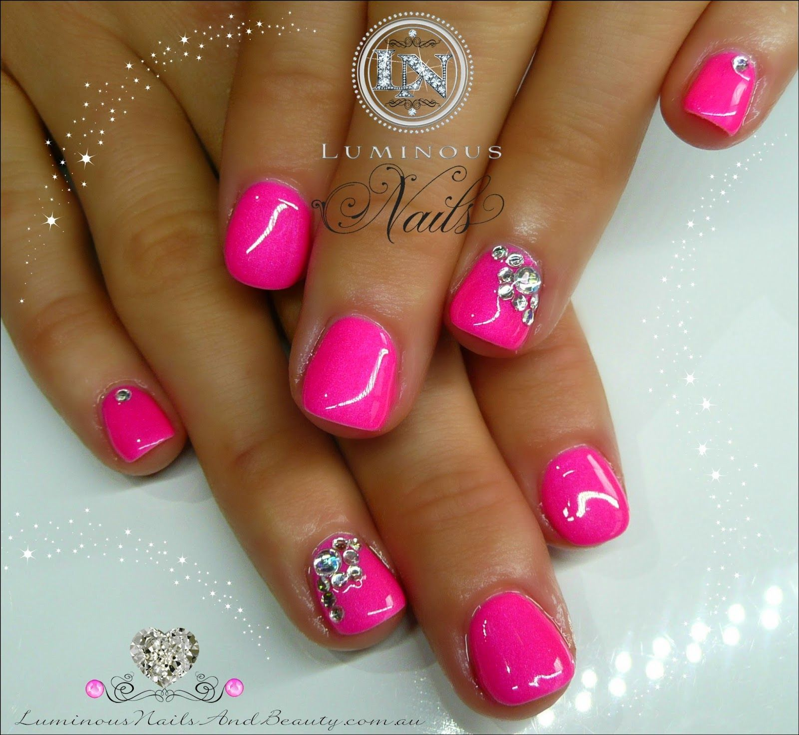 luminous+nails:+cute+hot+pink+gel+over+natural+nails+with+a+little