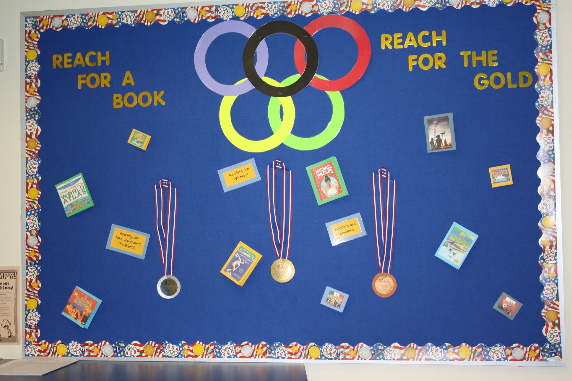 Olympic Reach For A Book And The Gold Sports Bulletin Boards Idea Library Displays