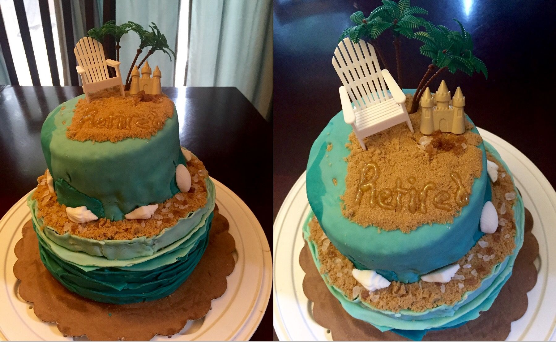 Beach Themed Retirement Cake Two Tier 6 Layers Ombre